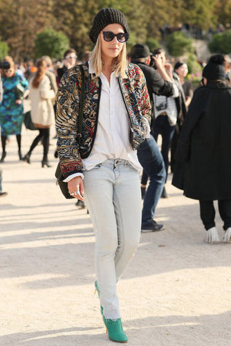 An embellished jacket upped the ante on faded denim.