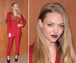 Amanda Seyfried's Purple Lipstick and Purple Shoes at Paris Fashion Week