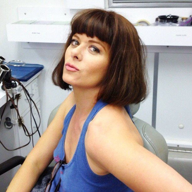 Debra Messing had fun in the wig closet on the set of Smash. Source: Twitter user