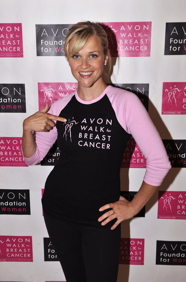 Reese Witherspoon spread the word for the cause in May 2009 at the Avon Walk For Breast Cancer event in San Francisco.