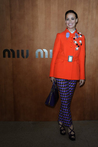 Bérénice Bejo wore head-to-toe Prada Fall '12 — embellishments, prints, and all — to the Miu Miu show.