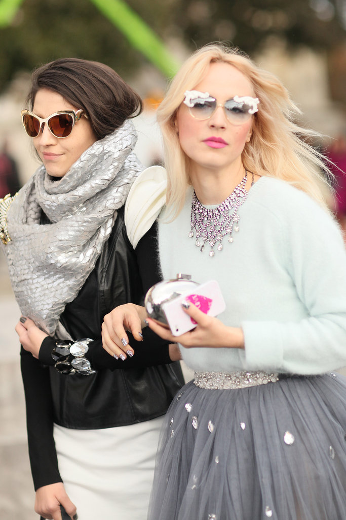 Statement shades, metallic add-ons, and rhinestone jewels gave both of these looks a little more oomph.