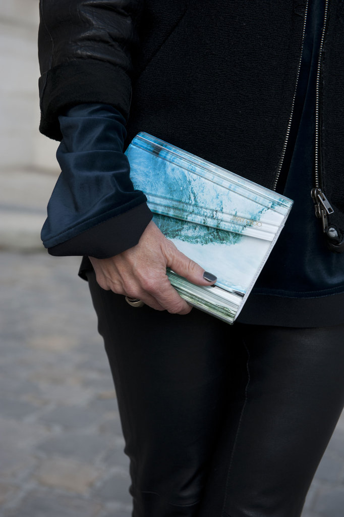 A marbled clutch looked insanely cool against this darker ensemble.