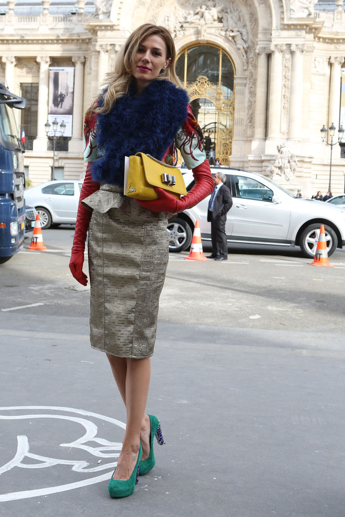 A bold-hued fur and equally eye-catching gloves and heels gave us lots to look at in this glam mix.