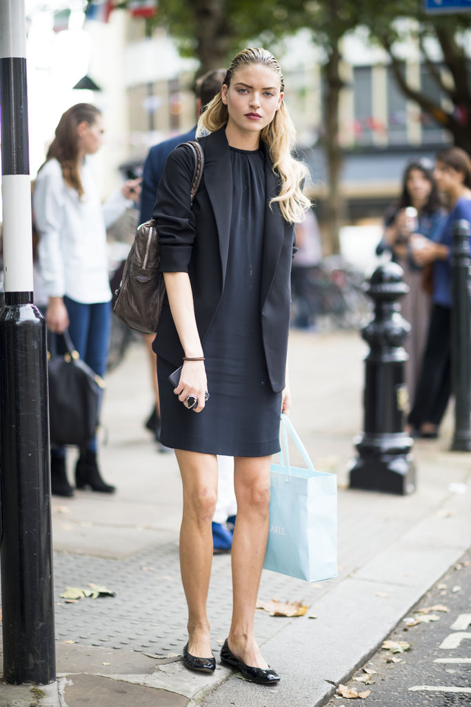 The perfect way to take your little shift to work: layered under a structured blazer with ballet flats added for a functional (and totally adorable) look to take to the office. Source: Adam Katz Sinding