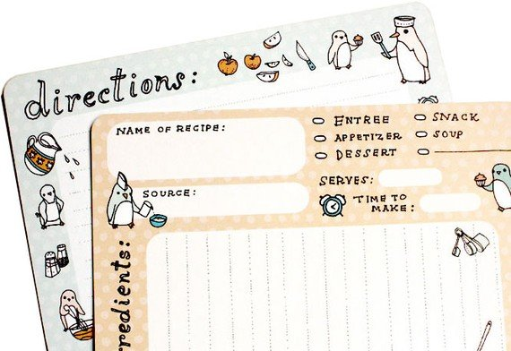 Penguin Recipe Cards