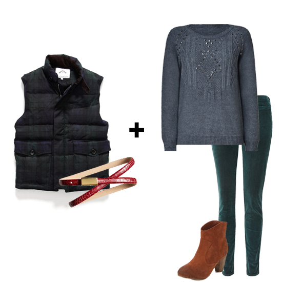 As the temperature dips, you'll need a trusty puffer to keep you cozy. We love the idea of taking this men's tartan vest and belting it to give it a cute peplum shape. Other seasonal essentials, like cords and a great cable-knit sweater, finish off this Fall-ready look.  Get the look:  Ovadia & Sons Highlands Blackwatch Shooting Vest ($945) Banana Republic Exotic Skinny Belt ($40) MiH Ellsworth Jean ($233) Vanessa Bruno Athe Cable Knit ($285) Ecote Alexandra Suede Ankle Boot ($69)