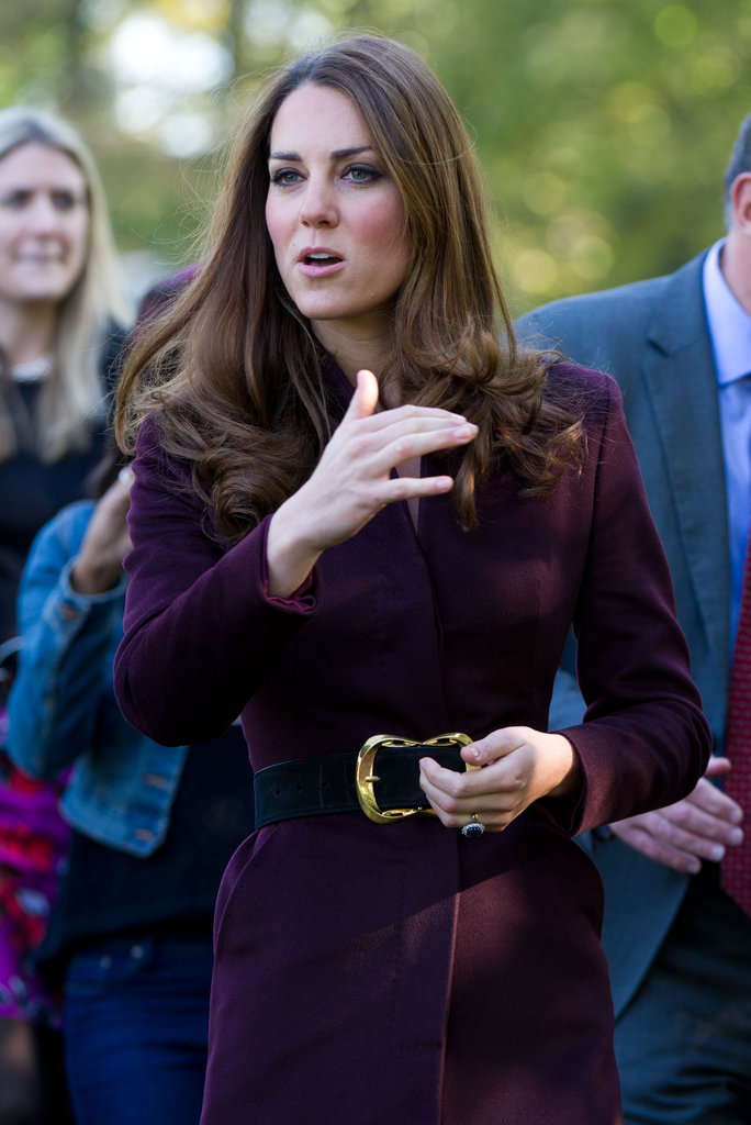 Kate Middleton wore a belted coat for a tour of Newcastle upon Tyne.