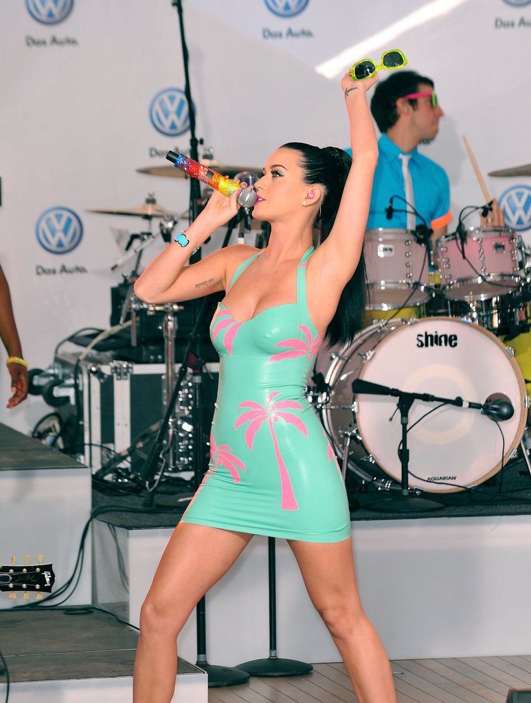 She rocked out in a skintight dress in NYC's Times Square in June 2010.