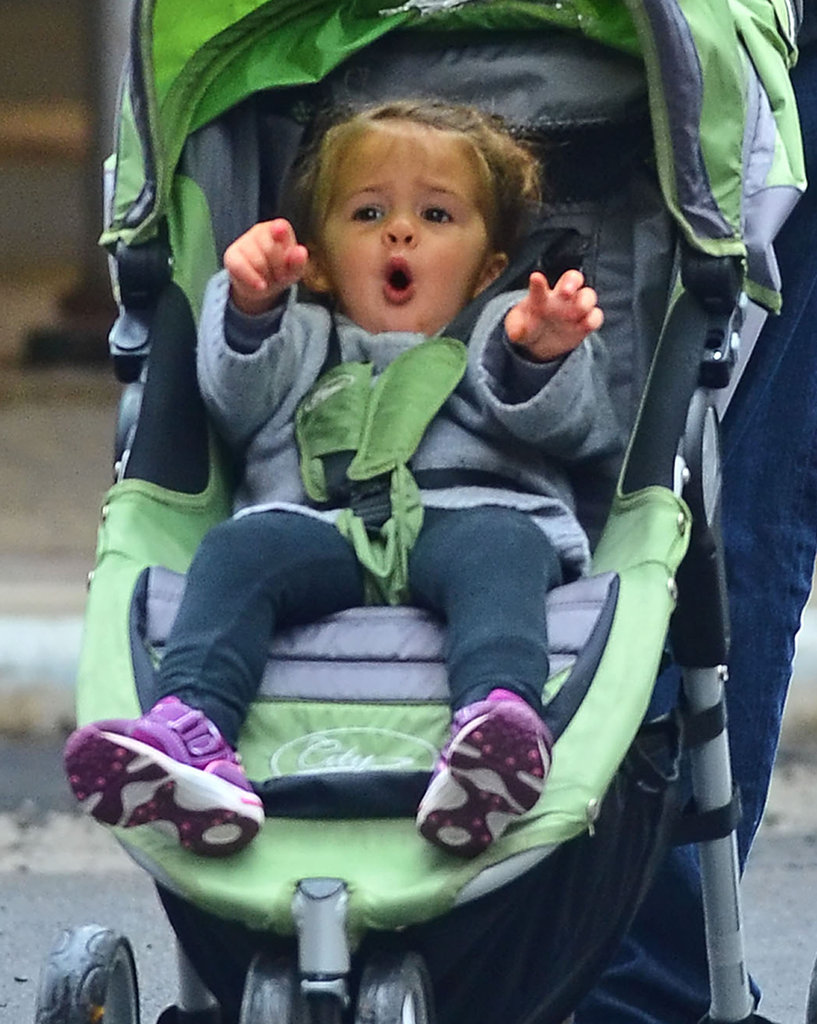 Stella Damon was cozy in her stroller during a walk in NYC.