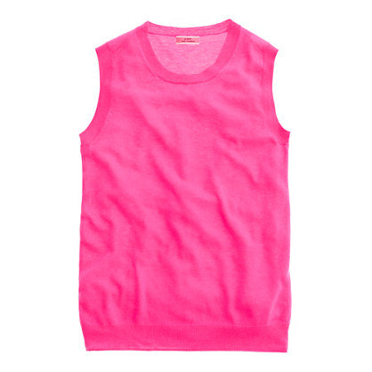 Hot pink and cashmere? Sign us up for J.Crew's Featherweight Cashmere Shell ($80) any day of the week.