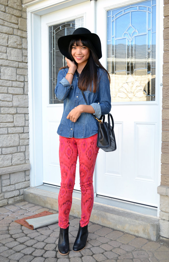 Printed denim and a Fall fedora upgrade go-to seasonal essentials, like a great chambray shirt and staple ankle boots. Source: Lookbook.nu