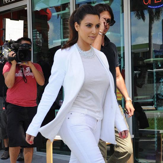 Kim Kardashian Wearing White Blazer