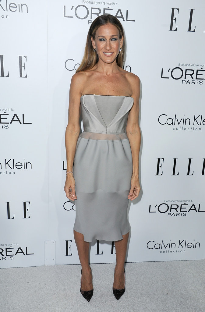 Sarah jessica Parker chose a strapless Calvin Klein dress to attend the Elle Women in Hollywood Awards in LA.