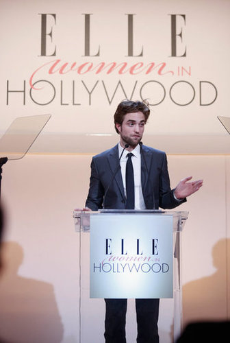 Robert Pattinson appeared on stage at the Elle Women in Hollywood Awards.