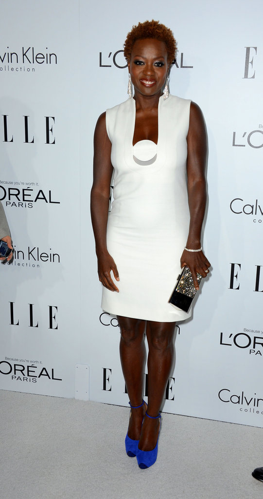 Viola Davis added intrigue to her LWD with bright blue pumps.