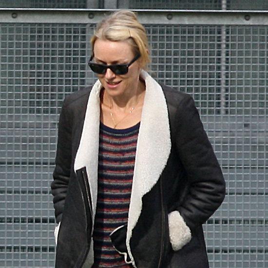 Naomi Watts Wearing Shearling Coat