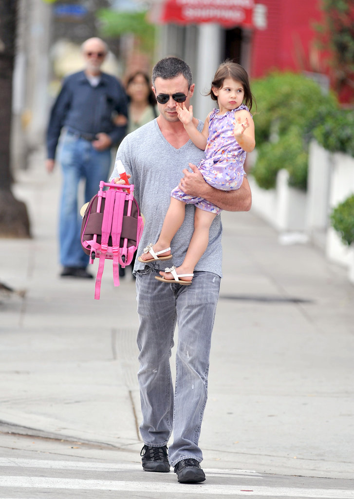 Freddie Prinze Jr. carried Charlotte and her backpack as they made their way to her school in LA.