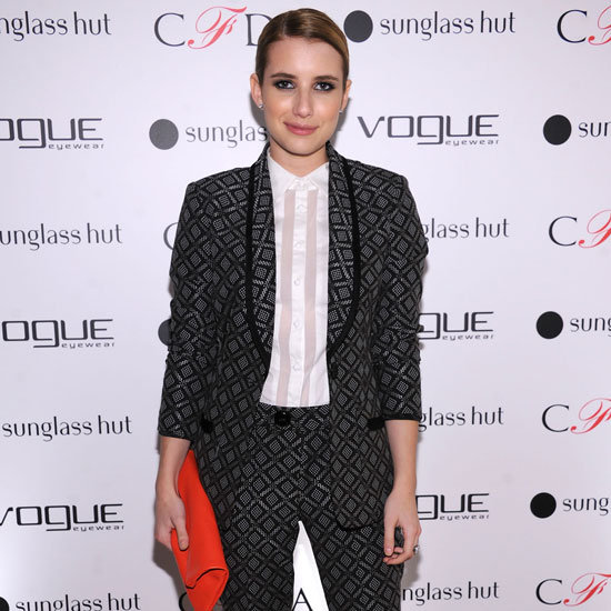 Emma Roberts Wearing Printed Suit