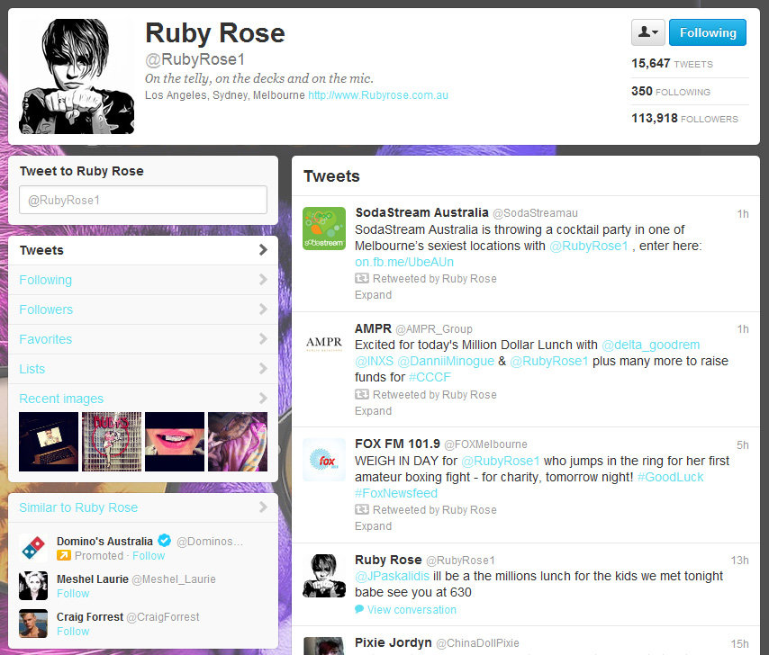 Ruby Rose on Twitter