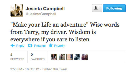 An afternoon pep talk courtesy of Jesinta Campbell's driver. We love!