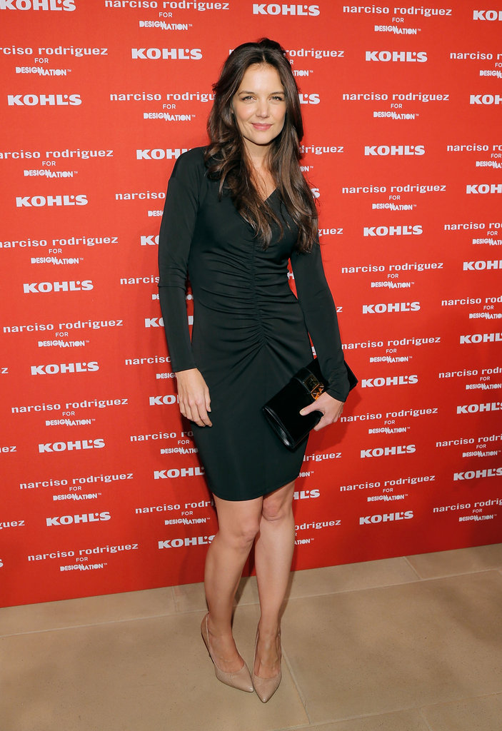 Katie Holmes donned a sexy black dress for Narciso Rodriguez's Kohl's collection launch party in NYC.