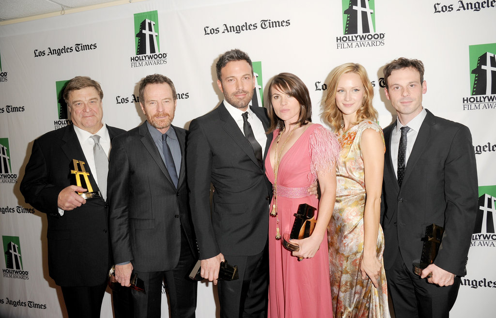 John Goodman, Bryan Cranston, Ben Affleck, Clea DuVall, Kerry Bishe and Scoot McNairy posed at the Hollywood Film Awards gala in Los Angeles.
