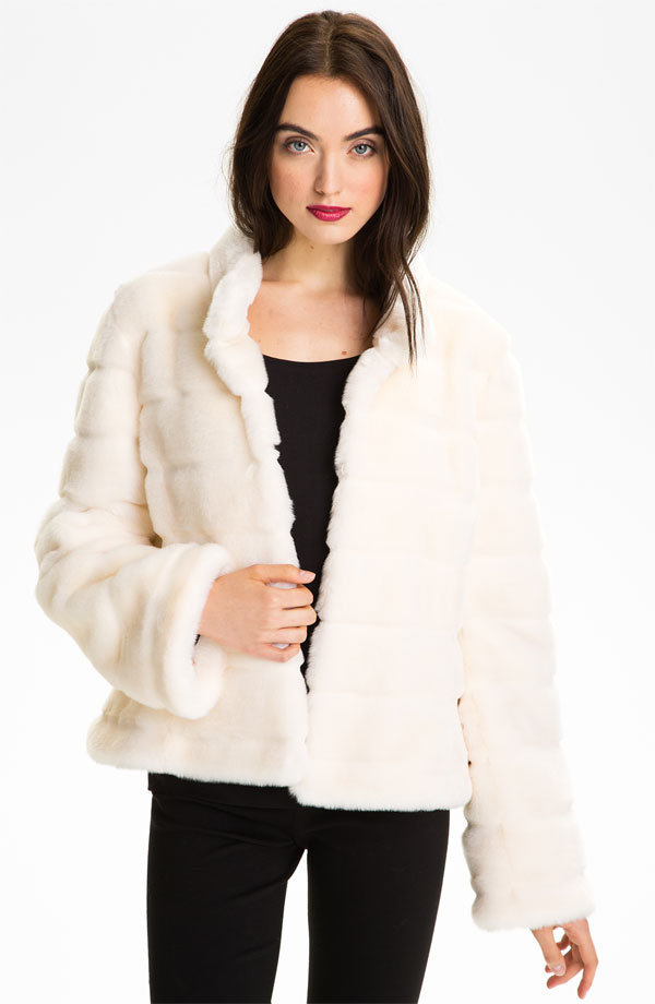 Clean and pristine, this Kristen Blake Faux Fur Jacket ($148) is ideal for wearing to holiday parties.
