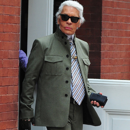 Karl Lagerfeld Wearing Green in New York City   Pictures