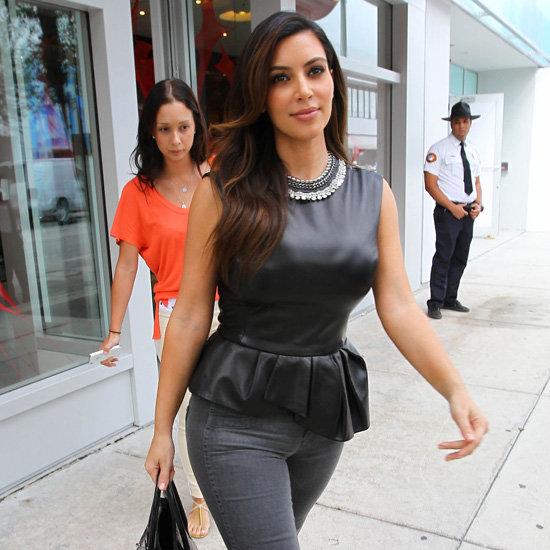 Kim Kardashian Wearing Black Leather Peplum Top