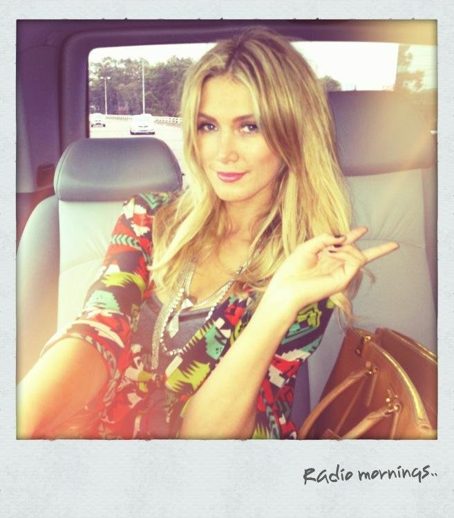 Delta Goodrem looked pretty for a morning of radio interviews to promote her new album, Child of the Universe. Source: Twitter user delta_goodrem