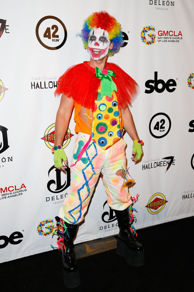 Lance Bass wore a scary clown costume at the Halloweenie party in LA on Friday.