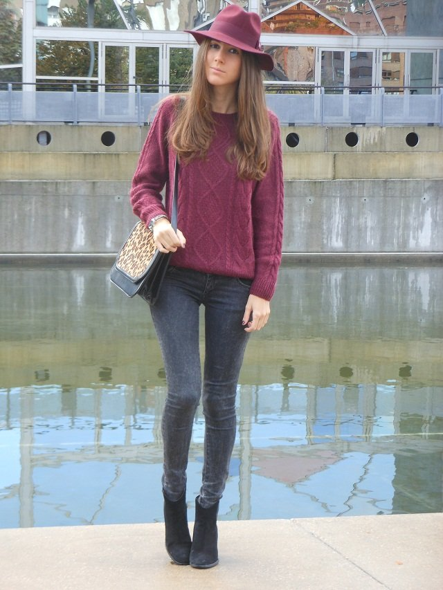 Classic shapes get a touch of the trends with a flash of burgundy hues and a leopard-print accent. Source: Lookbook.nu