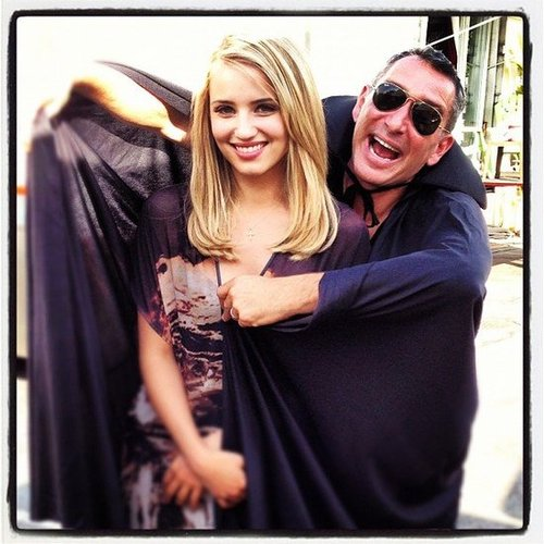 Adam Shankman went the method acting route while wearing a vampire cape on the set of Glee. Source: Instagram user adamshankman