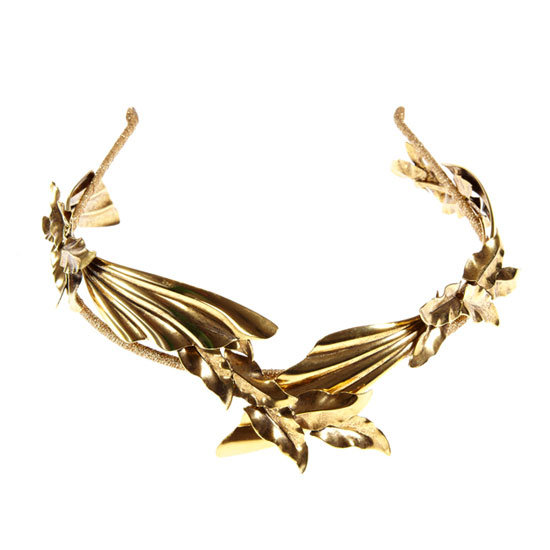 I wore Jennifer Behr on my wedding day and wouldn't hesitate to wear her modern hair pieces for a day at the track. This gold Pegasus headband is seriously dreamy. — Marisa, publisher Headpiece, approx $375, Jennifer Behr