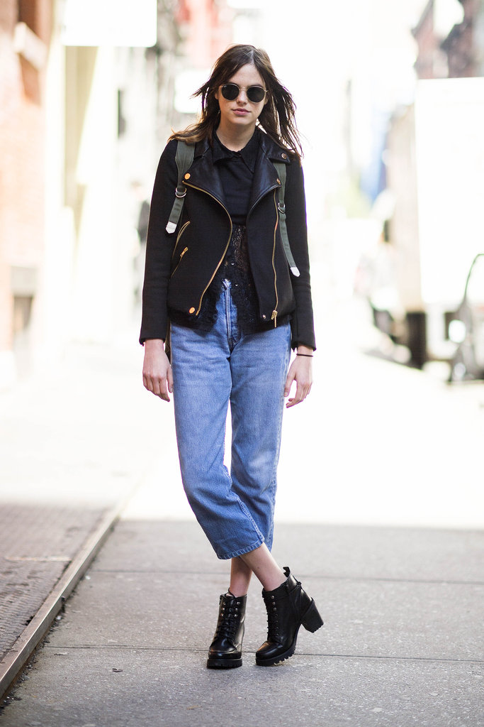 Boyfriend jeans got a slick complement from this leather jacket and a pair of lace-up boots. Source: Adam Katz Sinding