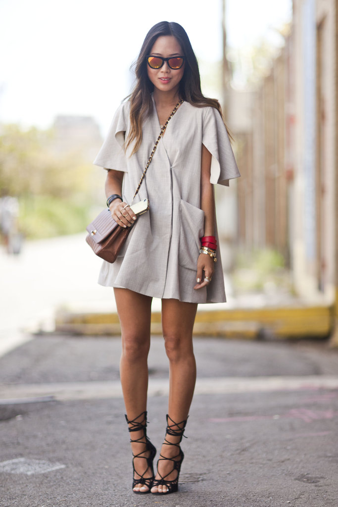 This may be a little too skimpy for those with real Winter weather, but in warmer areas, we love the idea of an easy neutral dress and lace-up heels — as an alternative for the chill, add tights and ankle boots. Source: Adam Katz Sinding