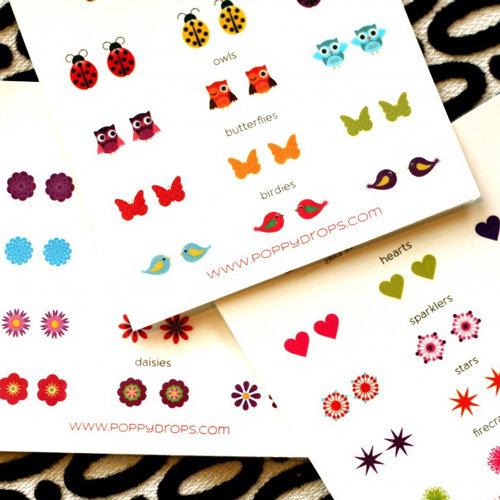 Poppy Drops Temporary Tattoo Earrings For Little Girls