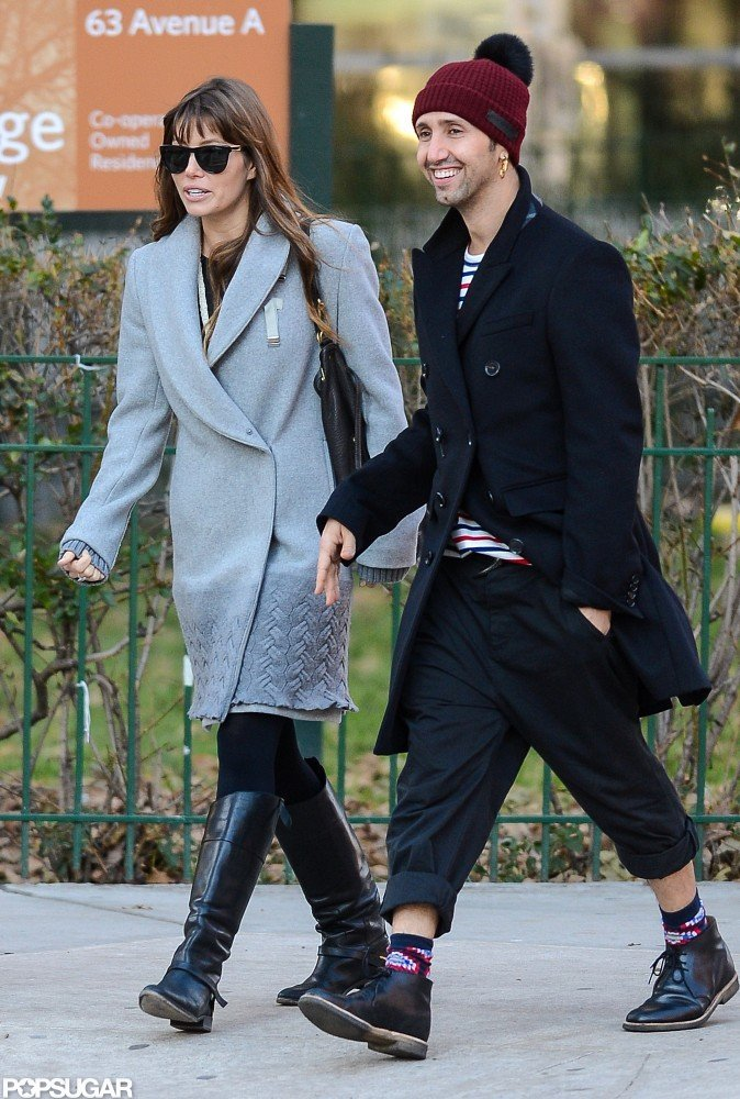 Jessica Biel wore a gray coat to hang out with friends in NYC.