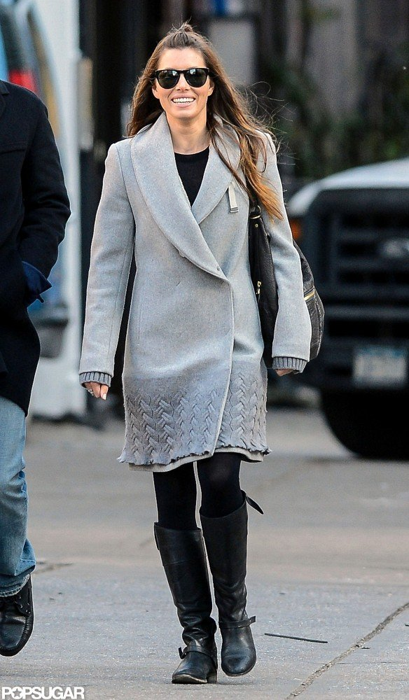 Jessica Biel wore a gray jacket in NYC.
