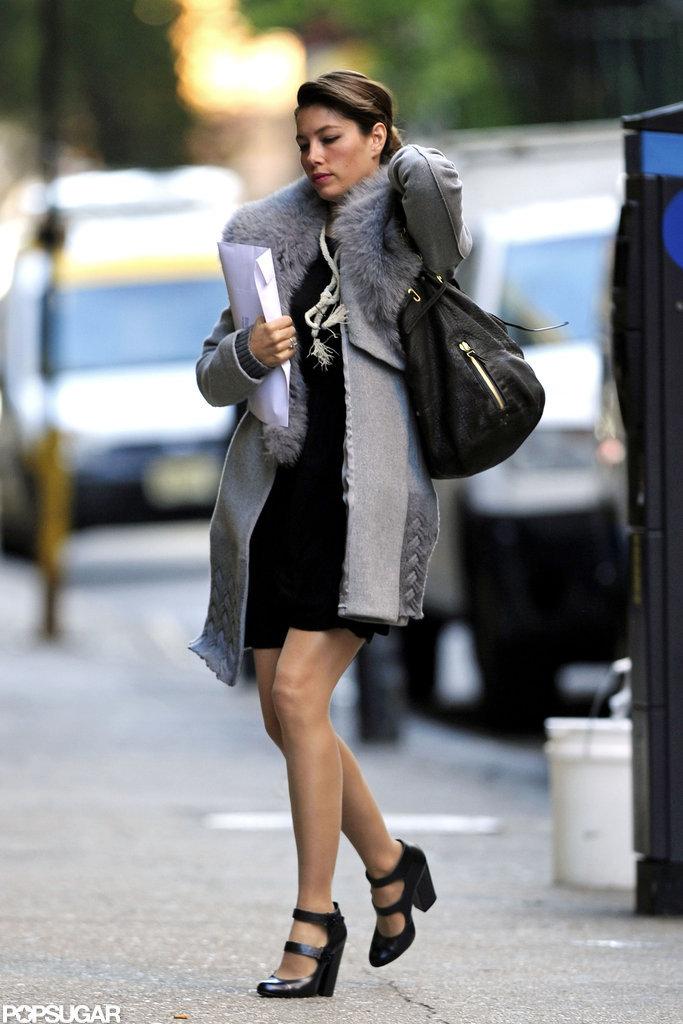 Jessica Biel wore a fur collar in NYC.
