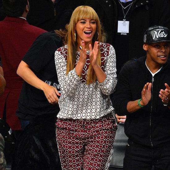 Beyoncé Wearing Printed Top and Pants
