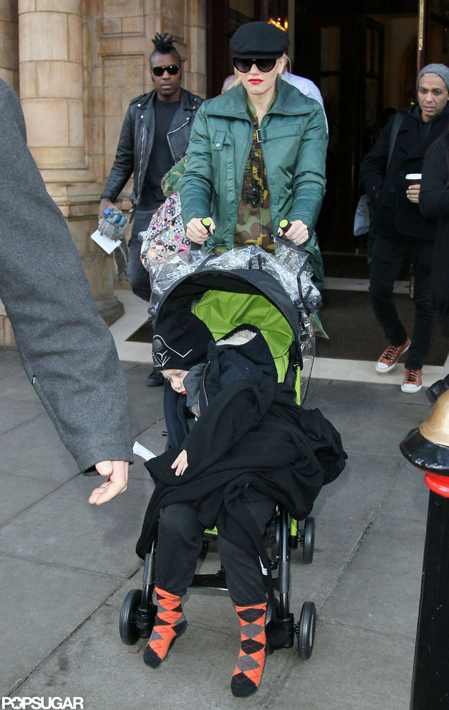 Gwen Stefani pushed a stroller with Zuma Rossdale on their way out of a hotel in London.