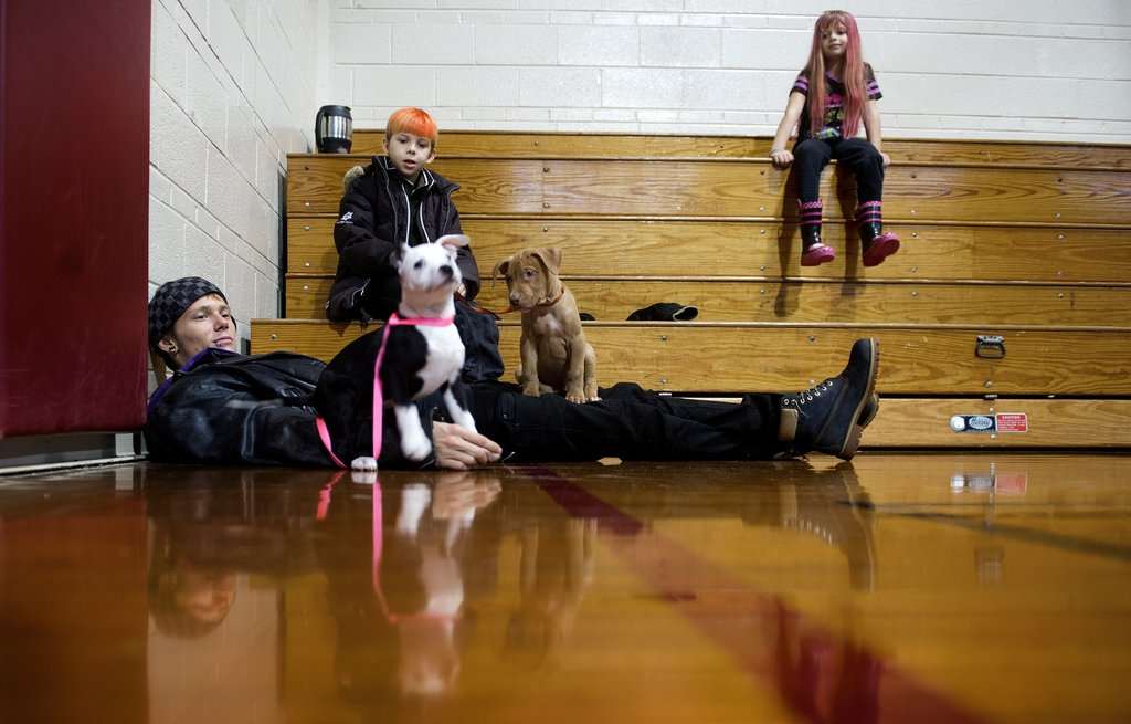 A Delaware man hunkered down with his two dogs at a pet-friendly hurricane shelter.