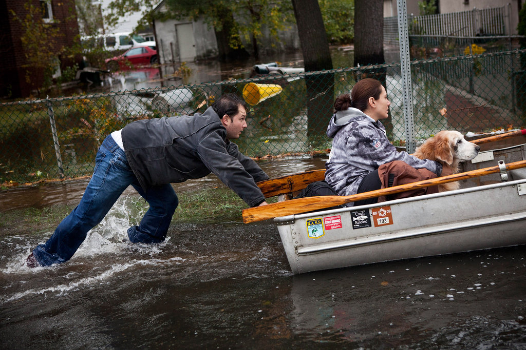 In Little Ferry, NJ, the water level rose so high that boating became a practical form of transportation.