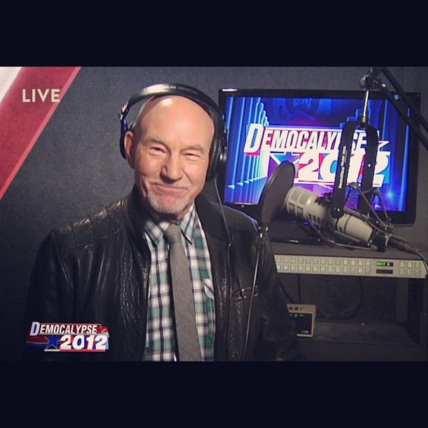 The Daily Show welcomed special guest Patrick Stewart onto their election night show.  Source: Instagram user comedycentral