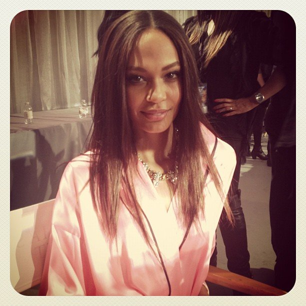 Joan Smalls sat waiting for her turn in hair and makeup. Source: Instagram user luckymagazine