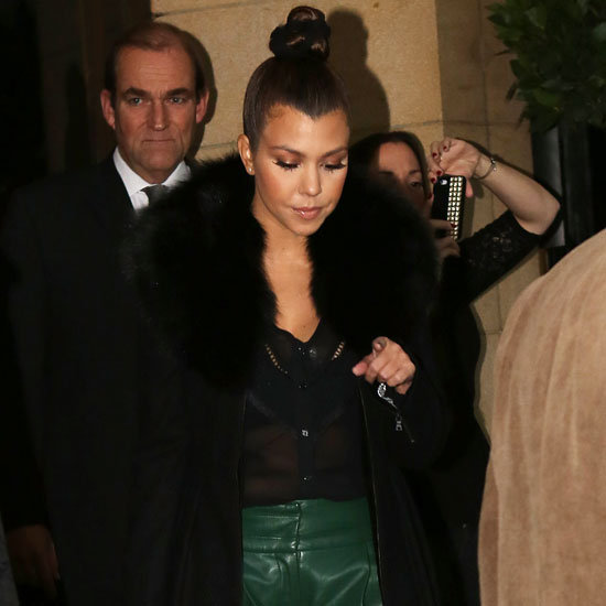 Kourtney Kardashian Wearing Black Fur Coat
