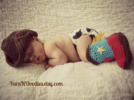 Yarn N Doodles Baby Cowboy Hat and Boots Set