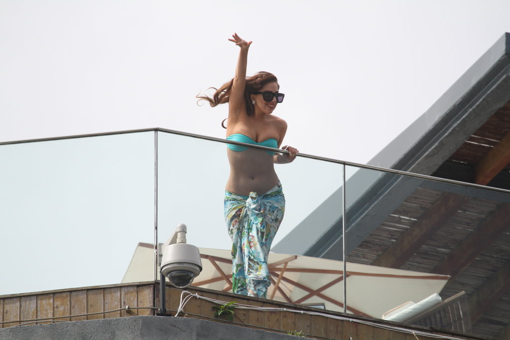 Lady Gaga Makes a Bikini-Clad Balcony Appearance in Brazil
